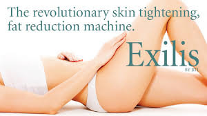 Women's body lying down with text saying the revolutionary skin tightening, fat reduction machine